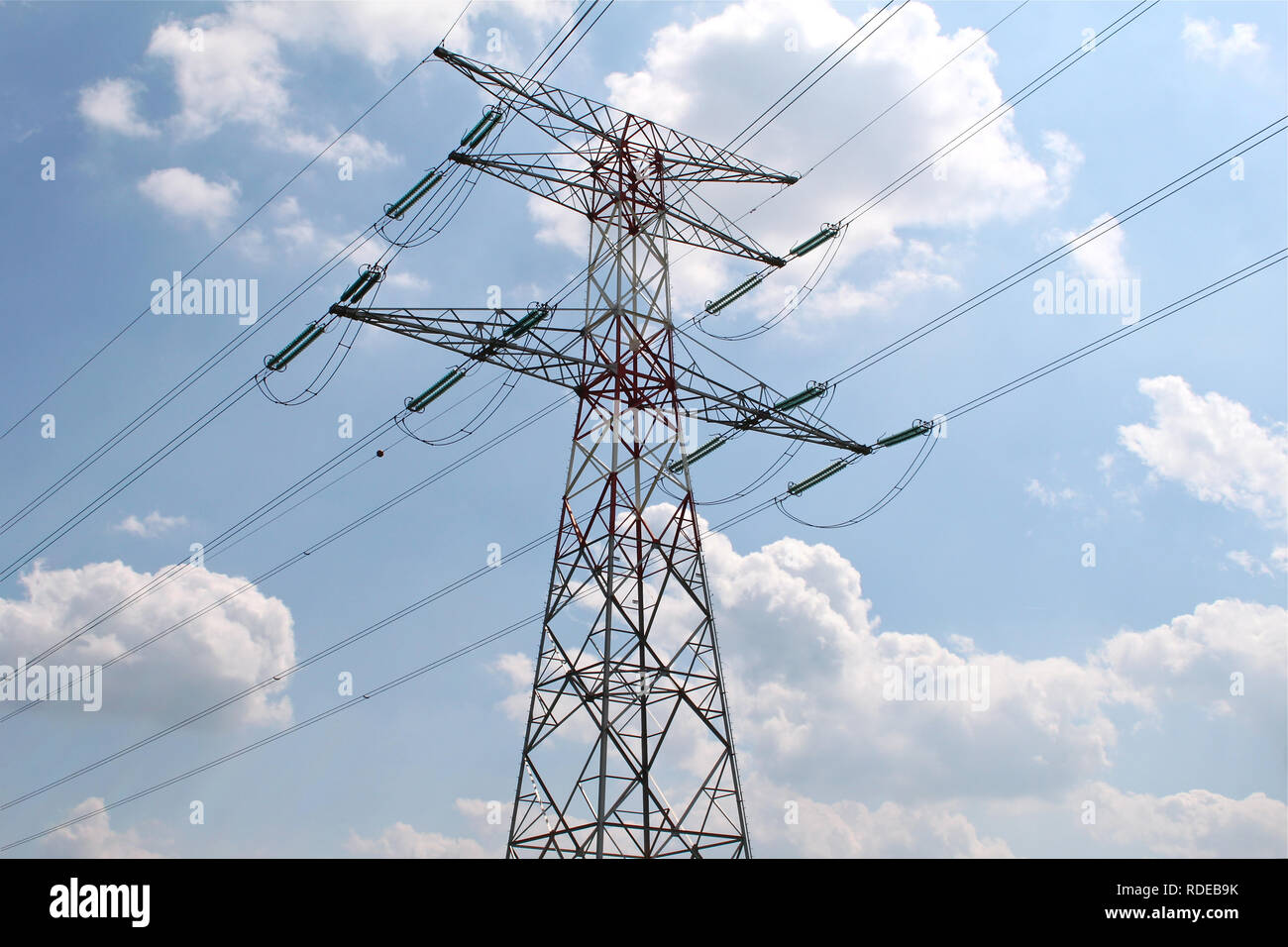 High voltage pylon for the distribution of electricity. - Stock Image