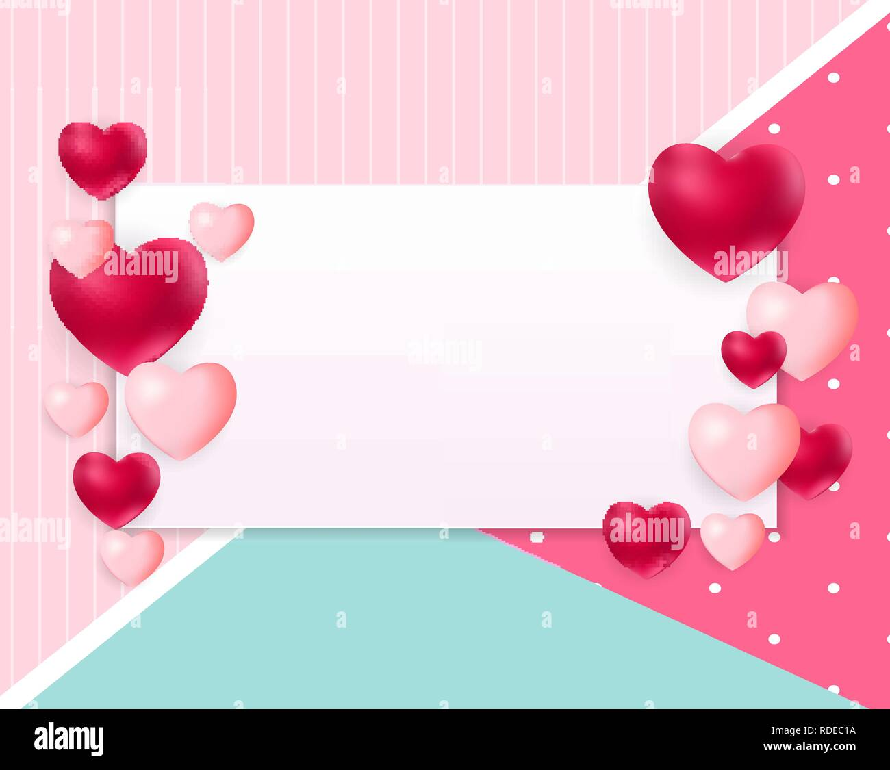Valentine S Day Love Background Template With Empty Blank Page For Sample Text Vector Illustration Eps10 Stock Vector Image Art Alamy