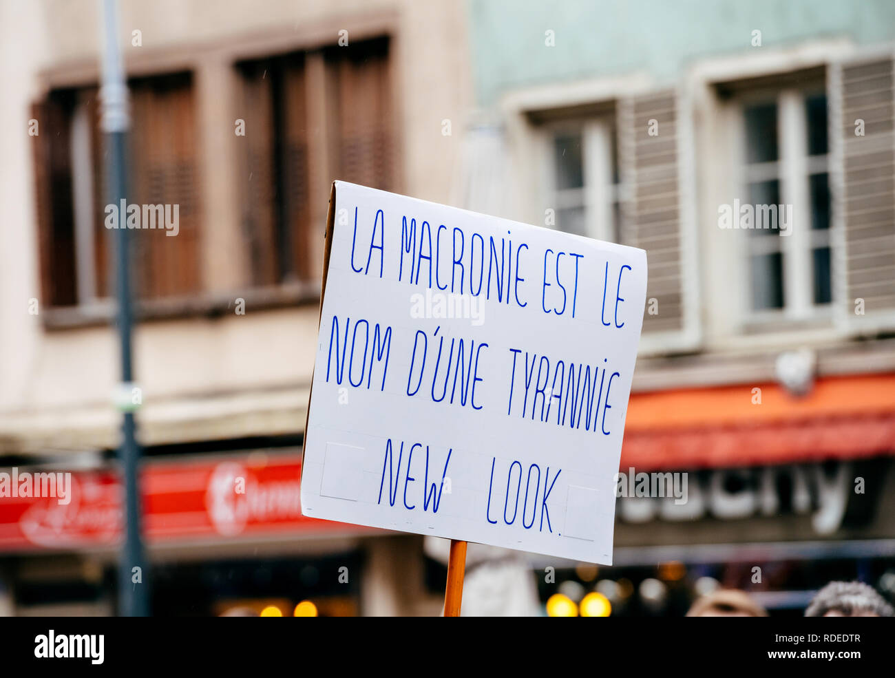 STRASBOURG, FRANCE  - MAR 22, 2018: La Macronie est le nom d'un tyrannie new look - Macronie is the name of a tyranny new look on placard in in France at protest against Macron  - Stock Image
