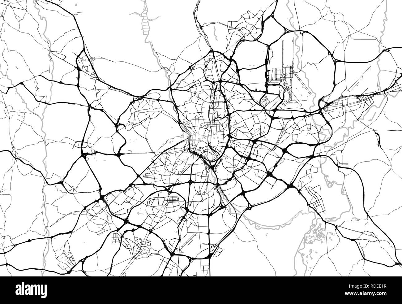 Area map of Madrid, Spain. This artmap of Madrid contains geography lines for land mass, water, major and minor roads. Stock Vector