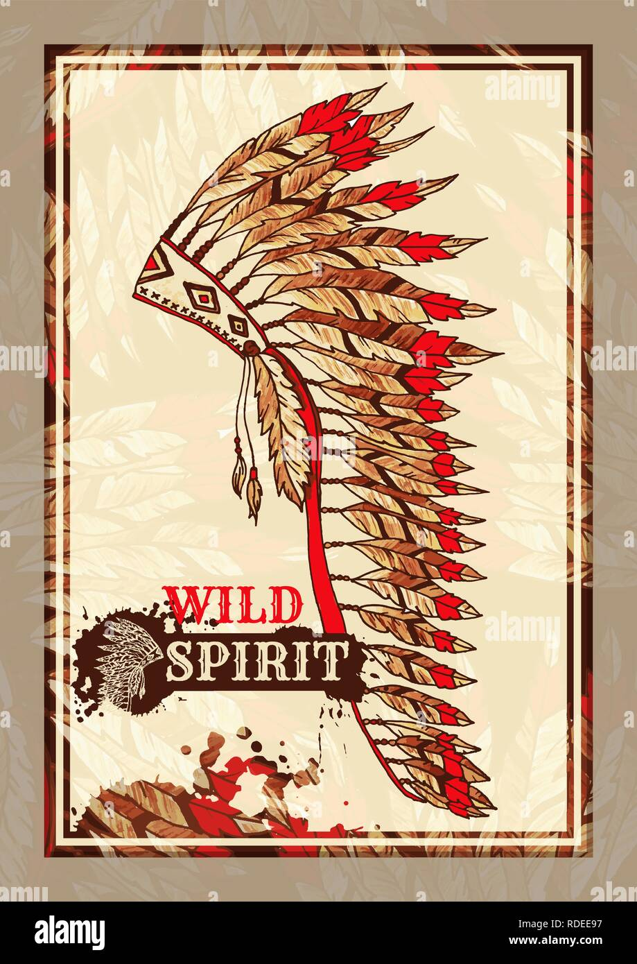 American painted War Bonnet Flyer or Vertical Poster for Tribal Party. Wild Spirit Feathers Warbonnet Hat. Native Indian Colorful Accessory. Halloween Costume Event Template. - Stock Image