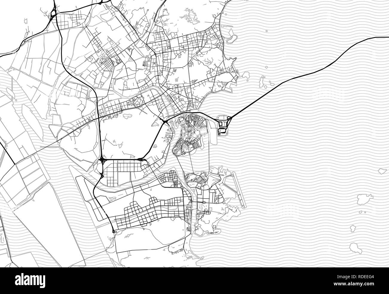 Area map of Zhuhai, China. This artmap of Zhuhai contains geography lines for land mass, water, major and minor roads. - Stock Image