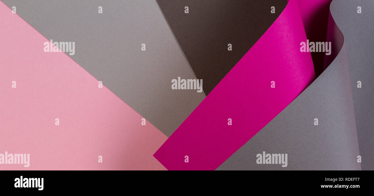 Abstract geometric shape pink magenta grey color paper background - Stock Image