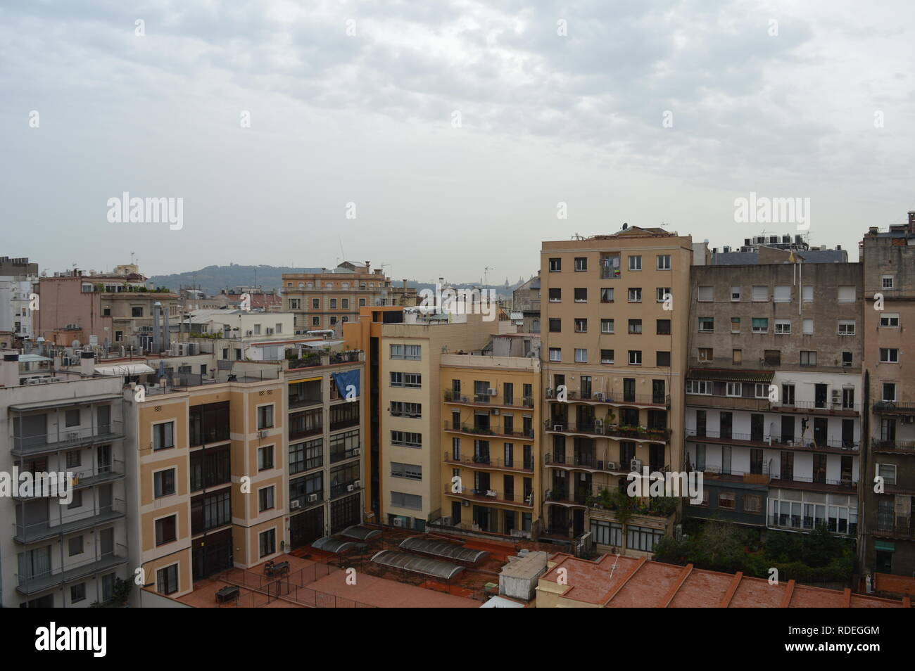 An image of a view of the city from a balcony Barcelona. - Stock Image