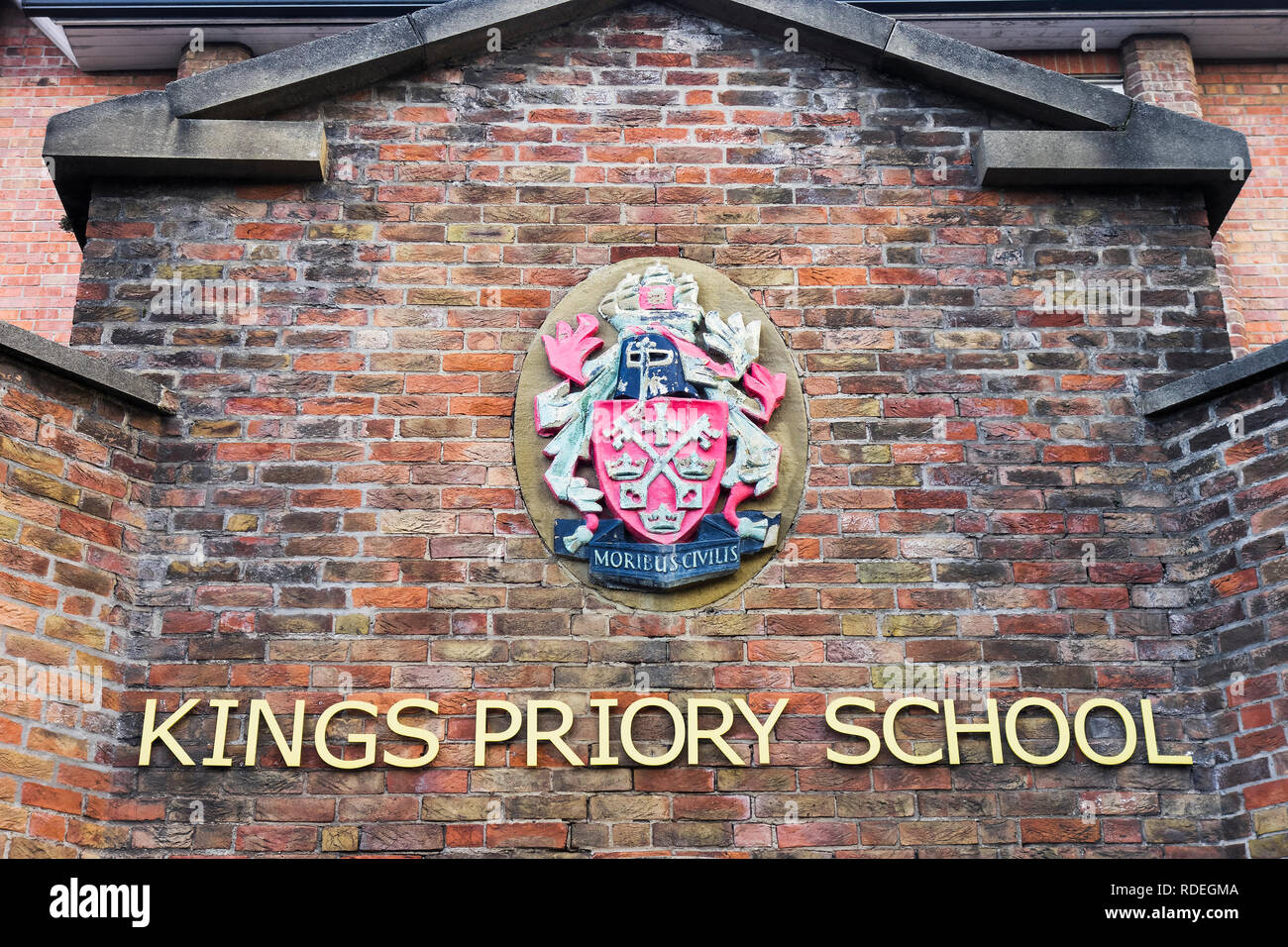 An entrance to Kings Priory School at Tynemouth, UK which was formerly The Kings School and the alma mater of Stan Laurel, Ridley Scott, Jason Plato.. - Stock Image