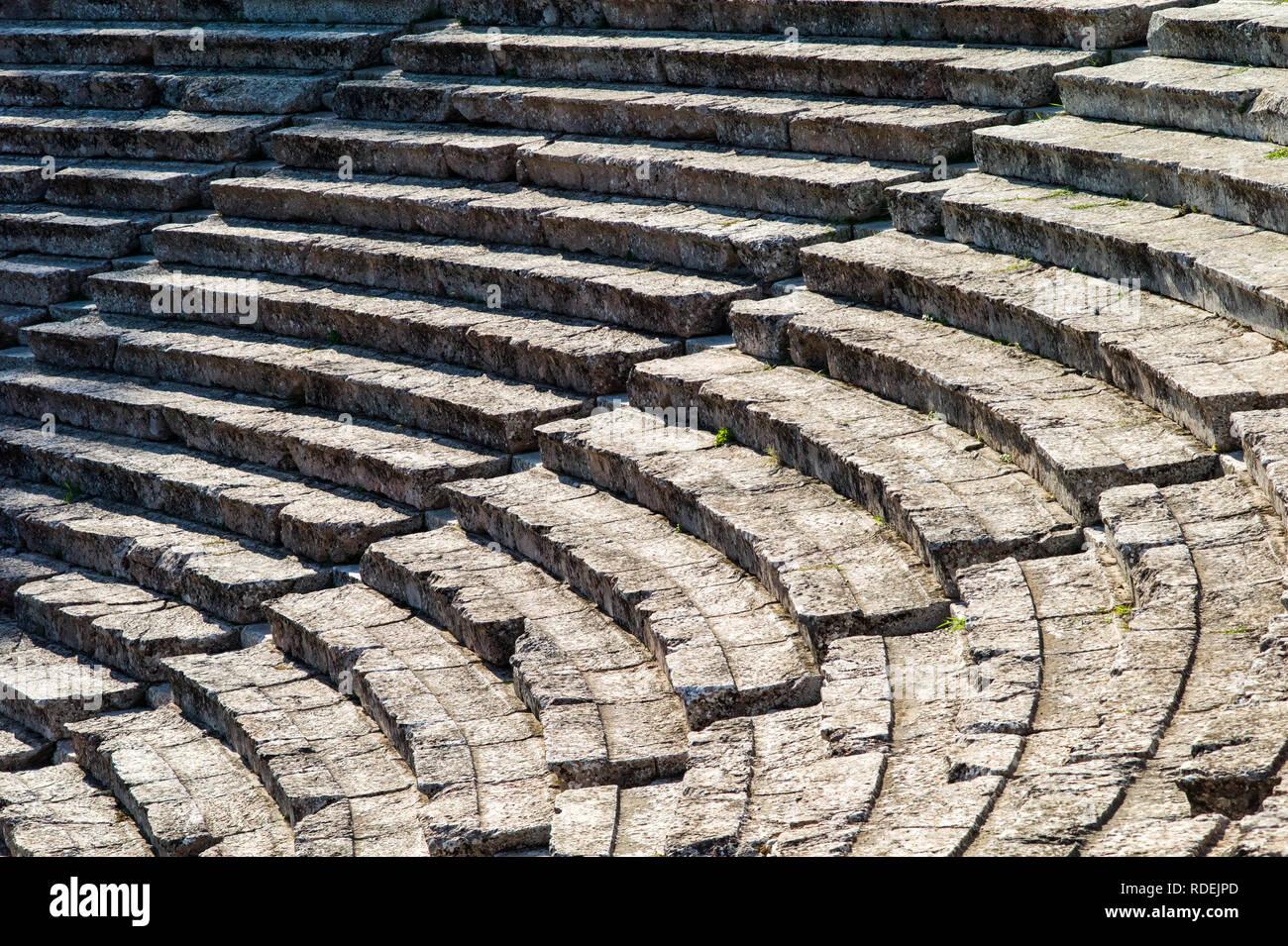 Ancient theatre's seats, Greece - Stock Image