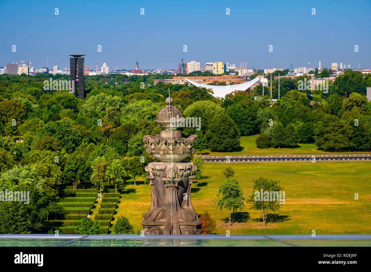 Berlin, Berlin state / Germany - 2018/07/31: Panoramic view of the Groser Tiergarten park with modern House of the World's Cultures - Stock Image