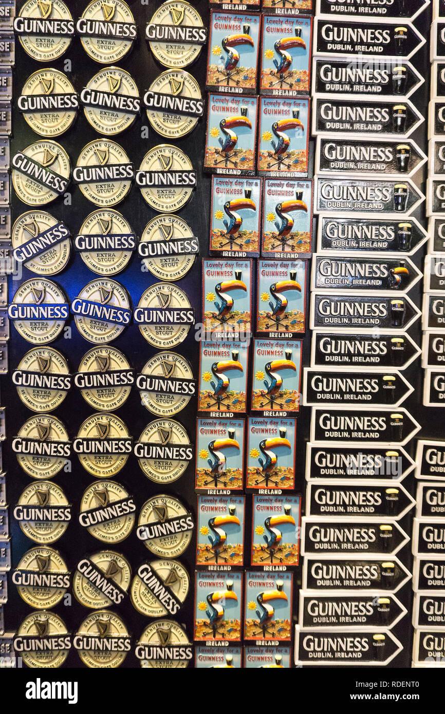 Merchandise fridge magnets on sale at the Guinness