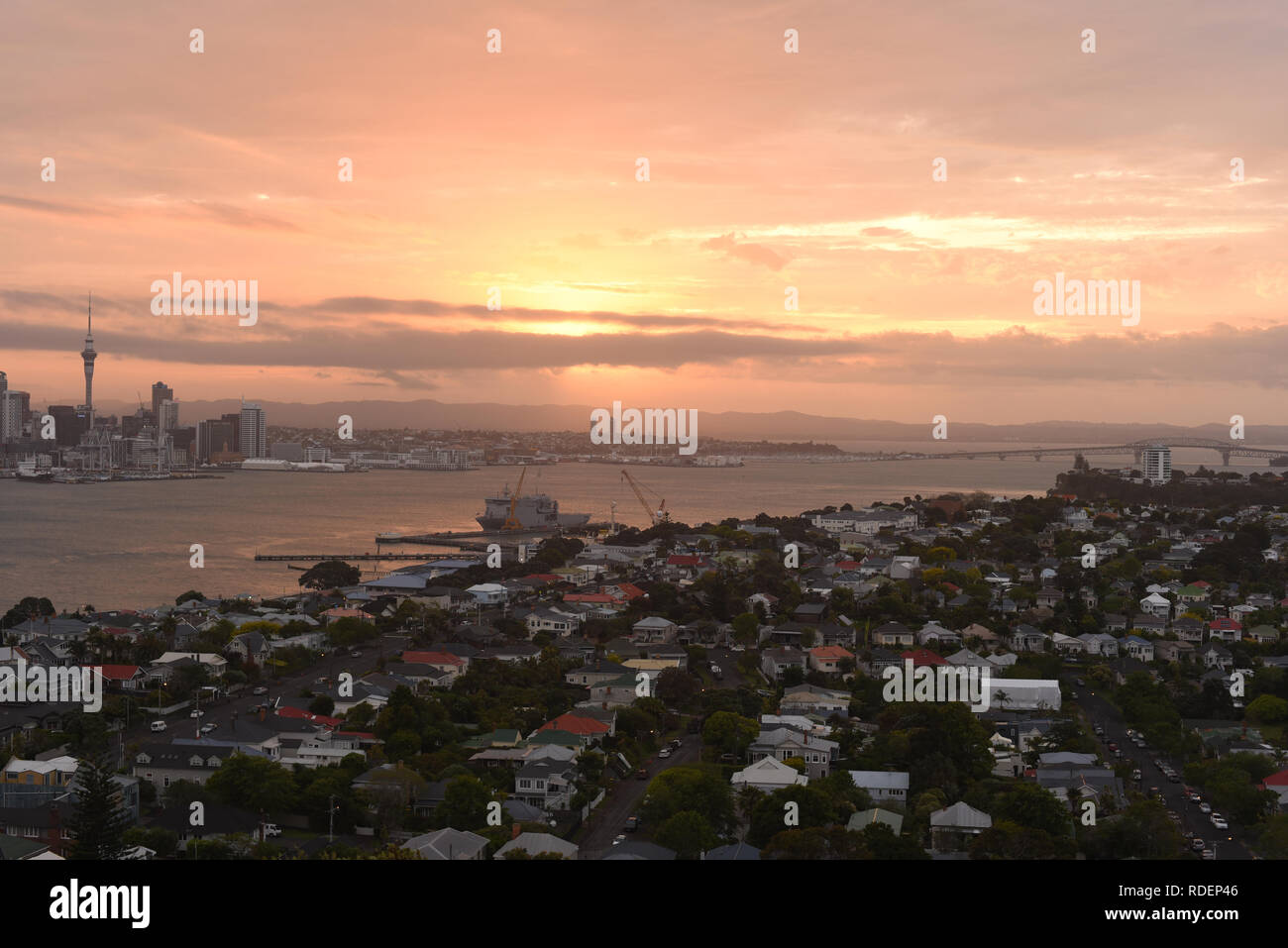 view of Auckland city looking from north point, Devonport - Stock Image