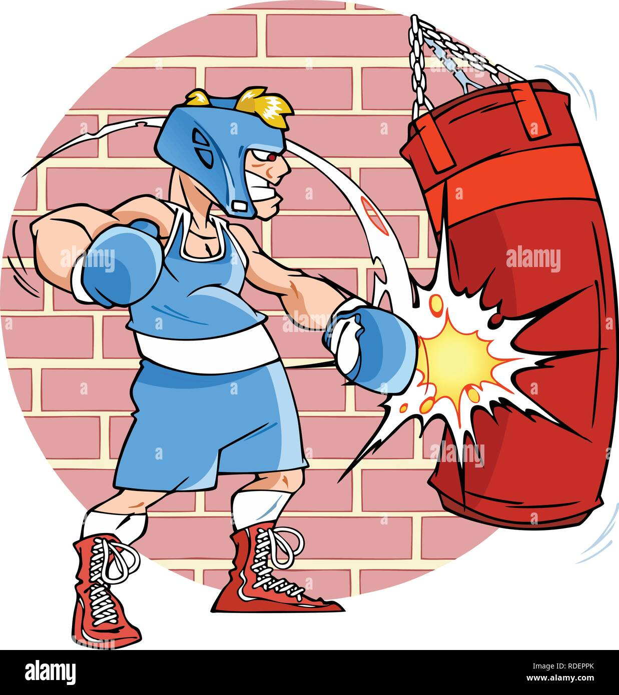 The illustration shows a man boxer on training. He fulfills blows at a punching bag. Illustration done in cartoon style, background on a separate laye - Stock Vector