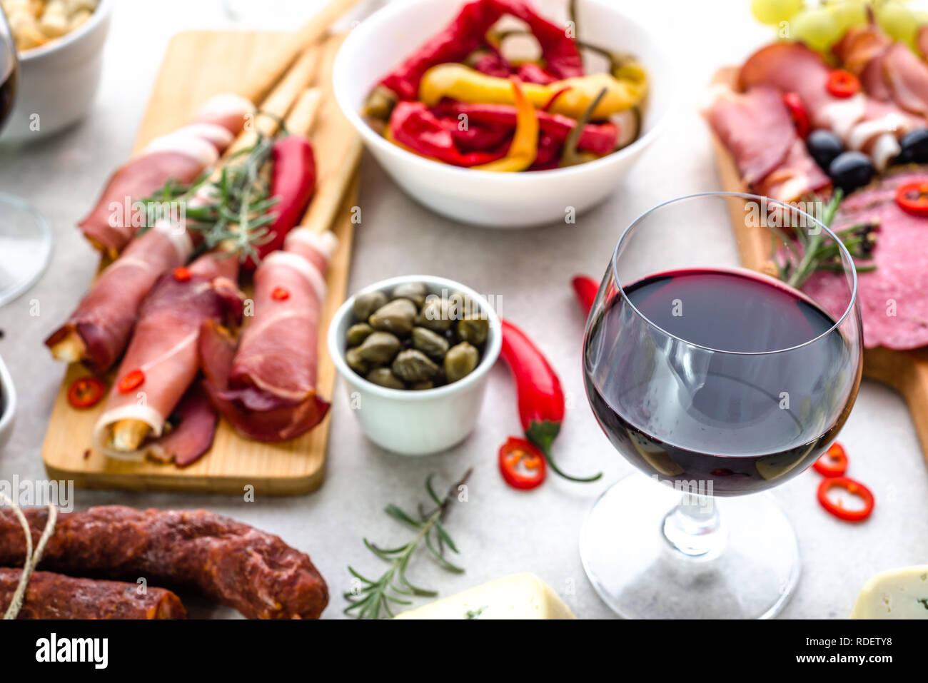 Traditional Spanish Tapas Bar Or Wine Snack Set On Table