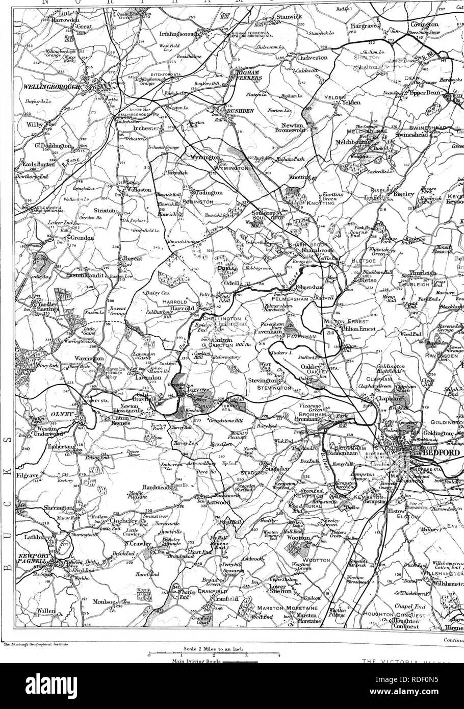 . The Victoria history of the county of Bedford. Natural history. TOPOGRAPHIC, HISTORY OF BEDFORDSHIRE N 0 R T HAM P  T   ^ ^. Mfiin Didviug iRoads THE VICTORIA HISTORY C. Please note that these images are extracted from scanned page images that may have been digitally enhanced for readability - coloration and appearance of these illustrations may not perfectly resemble the original work.. Page, William, 1861-1934, ed; Doubleday, H. Arthur (Herbert Arthur), 1867-1941. Westminster [A. Constable] Stock Photo