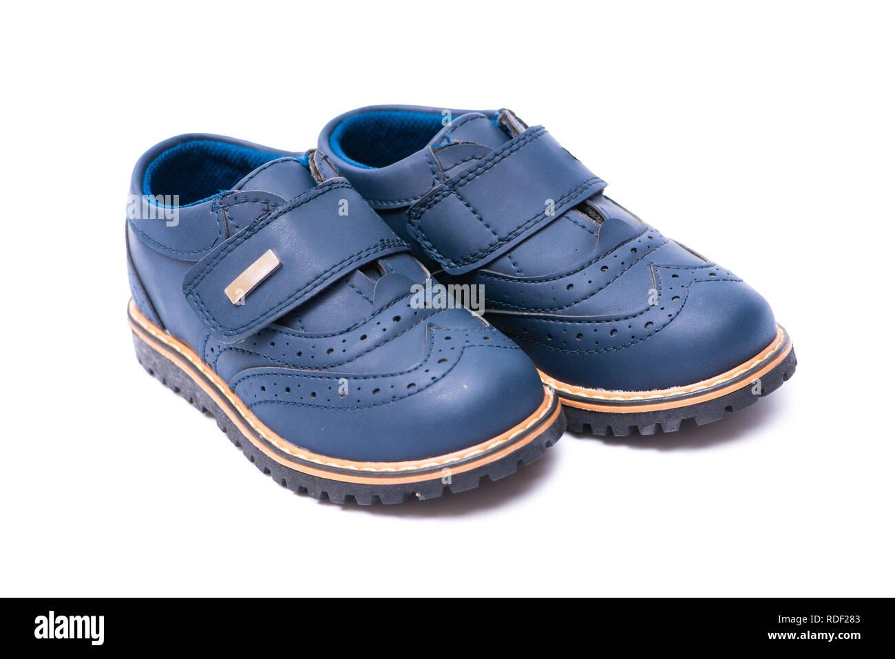 3857f7e28204 Blue baby shoes isolated on white background Stock Photo  232056387 ...