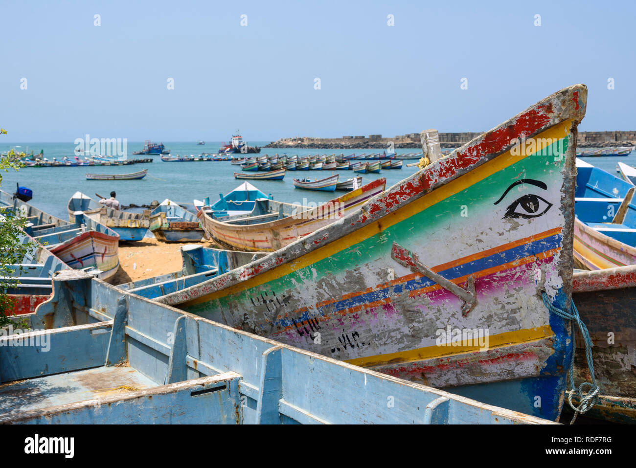 Fishing boats at Vizhinjam, near Kovalam, Kerala, India - Stock Image