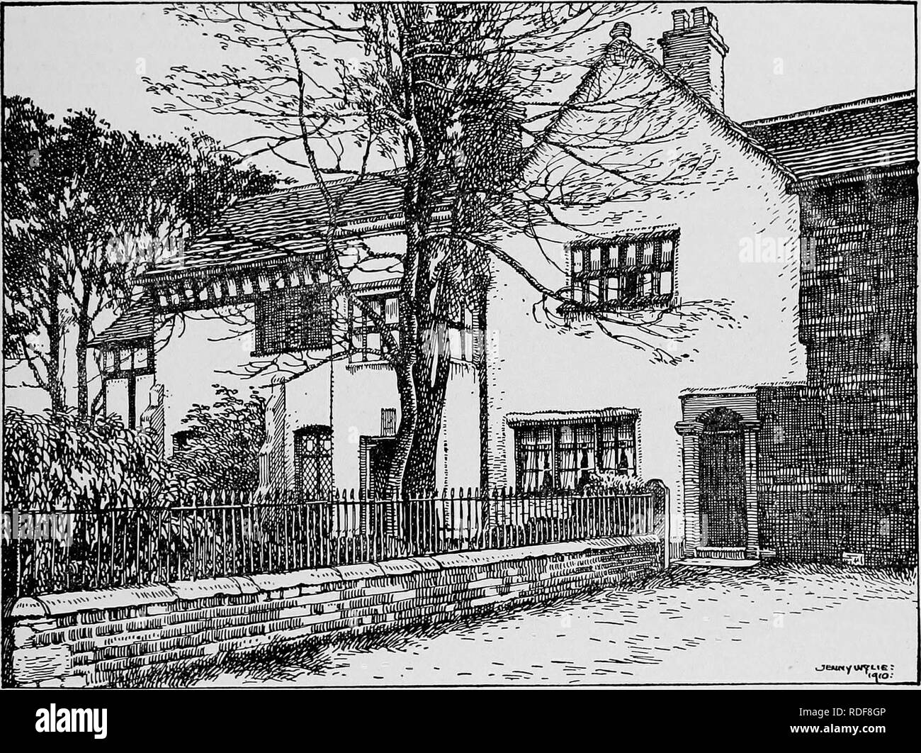 . The Victoria history of the county of Lancaster;. Natural history. SALFORD HUNDRED MANCHESTER north side of the house has been rebuilt in brick, probably in the 17th century, and in recent years has been covered with plaster. The south side has been treated in a similar manner, and the plaster lined to represent stone, so that the north and south walls present little or nothing of their ancient appearance, except in the upper windows, which preserve their muUions and transoms, and in the wood and plaster cove under the eaves. The roofs are covered with grey stone slates, and the chimneys are Stock Photo