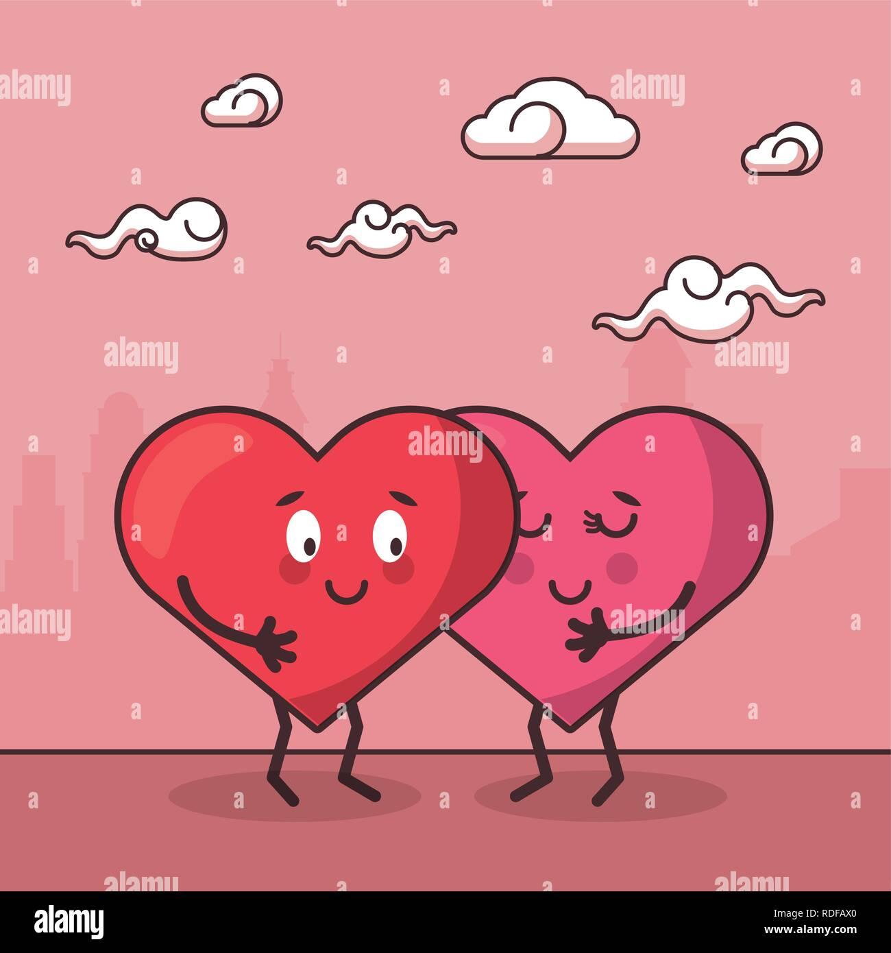 love hearts couple cartoon Stock Vector