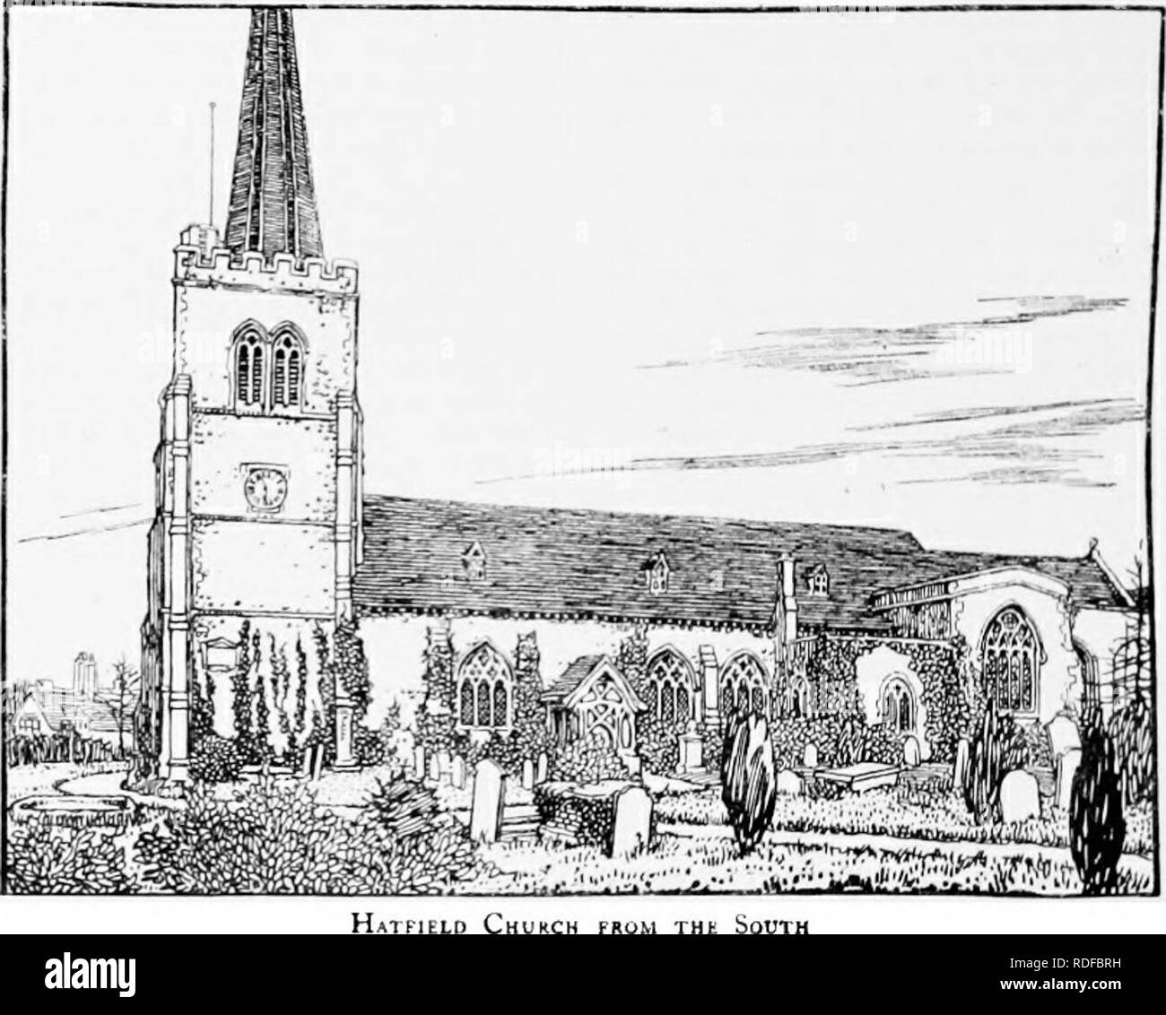 . The Victoria history of the county of Hertford. Natural history. A HISTORY OF HERTFORDSHIRE doors all have four-centred heads. The two-centred arch at the west end,opening into thesouth transept, is of the i 3th century, of three continuous chamfered orders, and immediately to the south of it is a plain narrow doorway of the 15th century, also leading to the south transept, which was inserted when the chapel was widened. In the east wall of the chapel are two brackets, each carved with an angel bearing a shield, one on each side of the east window. The roof retains much of its late 1 5th-cen - Stock Image