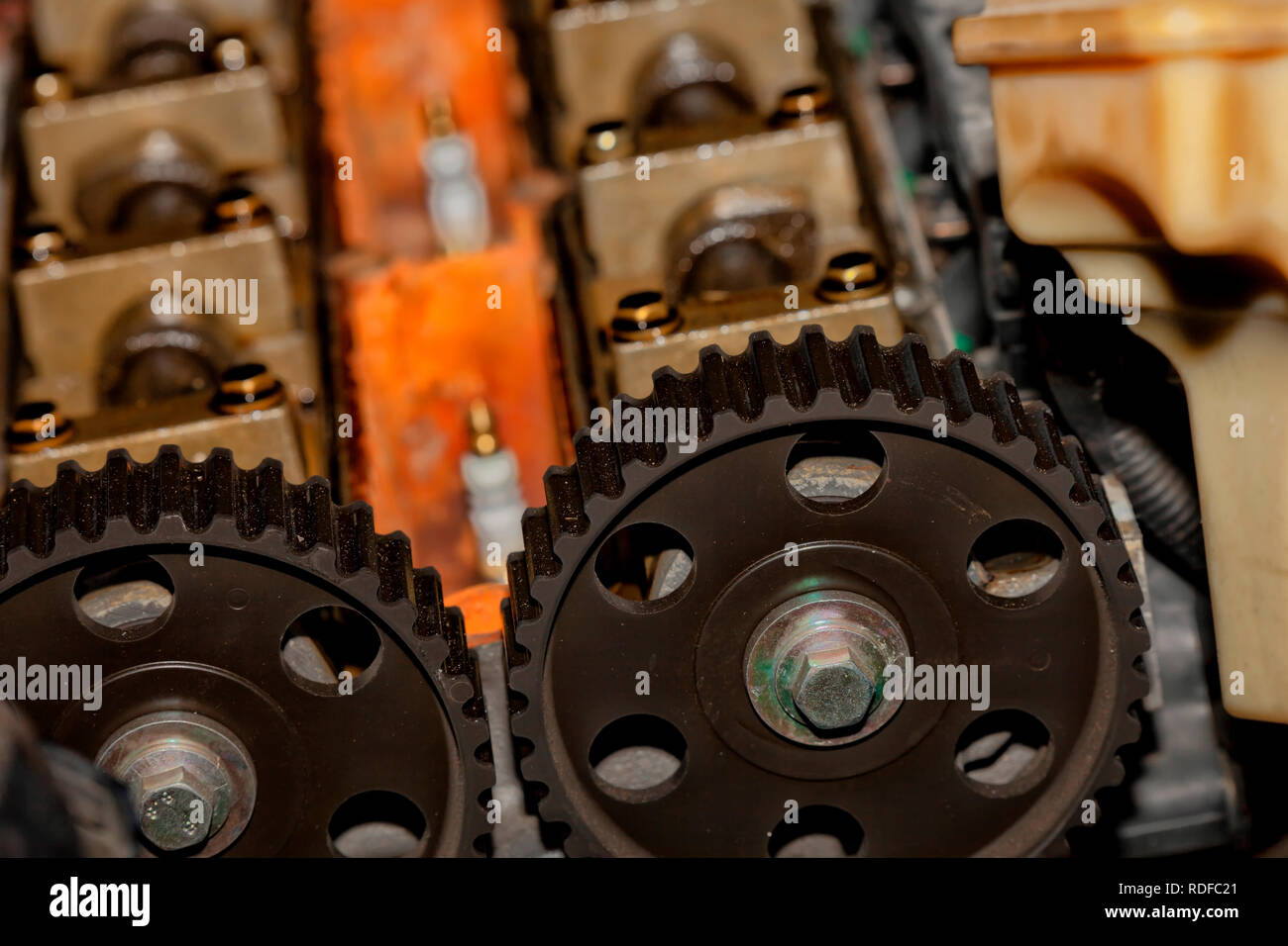 Detail of the disassembled engine of a car for repair. - Stock Image