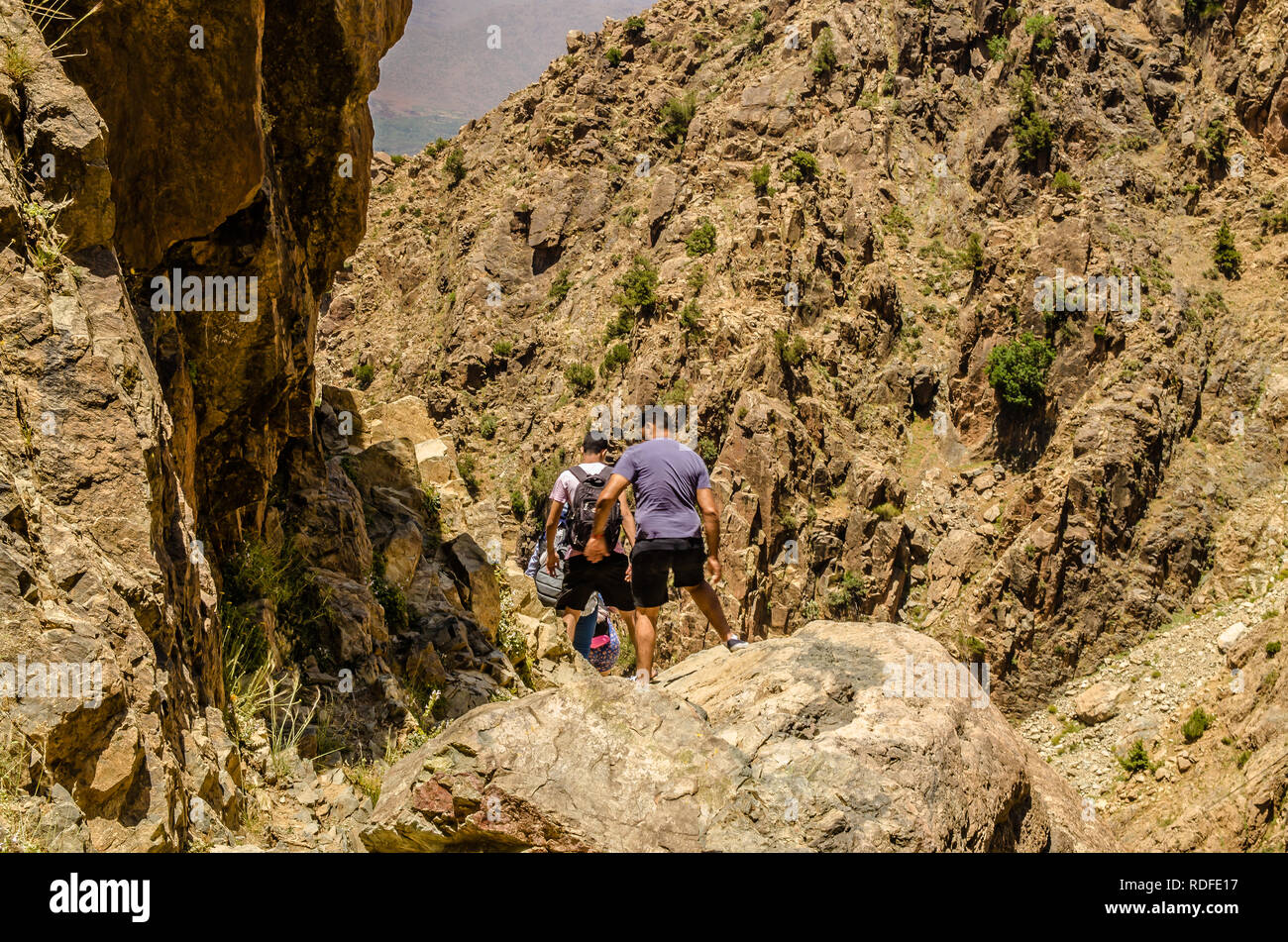 Hiking on Atlas mountains in Marrakesh, Morocco - Stock Image