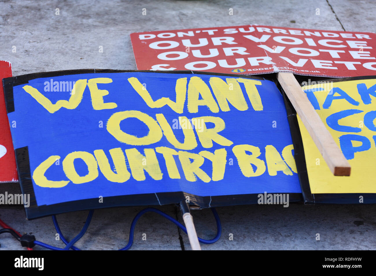 Pro Brexit protest placards waiting to be used by protestors outside the British Parliament in Westminster London. Jan 17 2019 - Stock Image