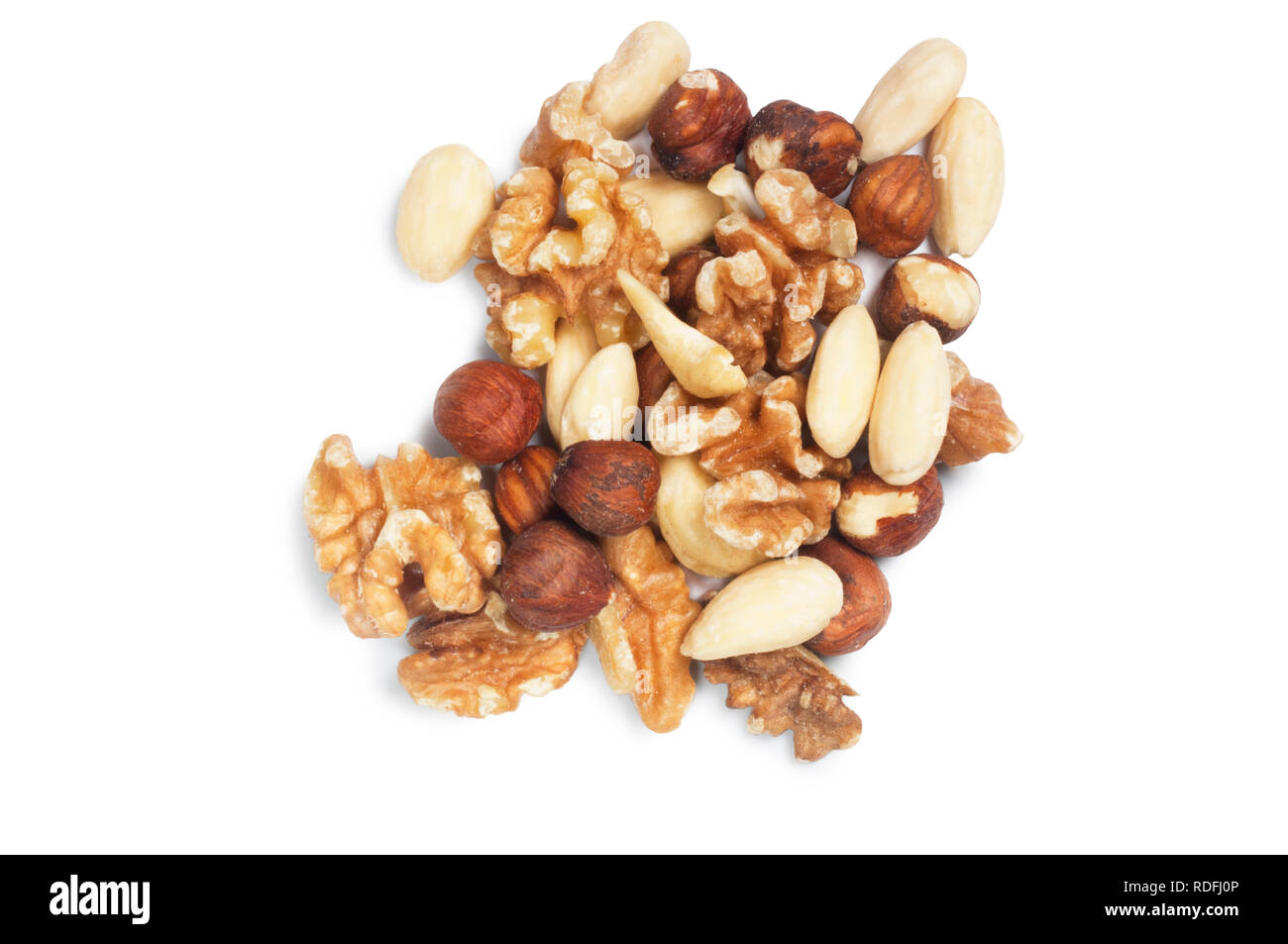 studio shot of mixed nuts isolated against a white background - John Gollop - Stock Image
