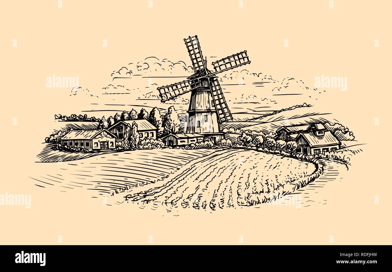 Rural landscape sketch. Farm, windmill and field. Vintage vector illustration - Stock Vector