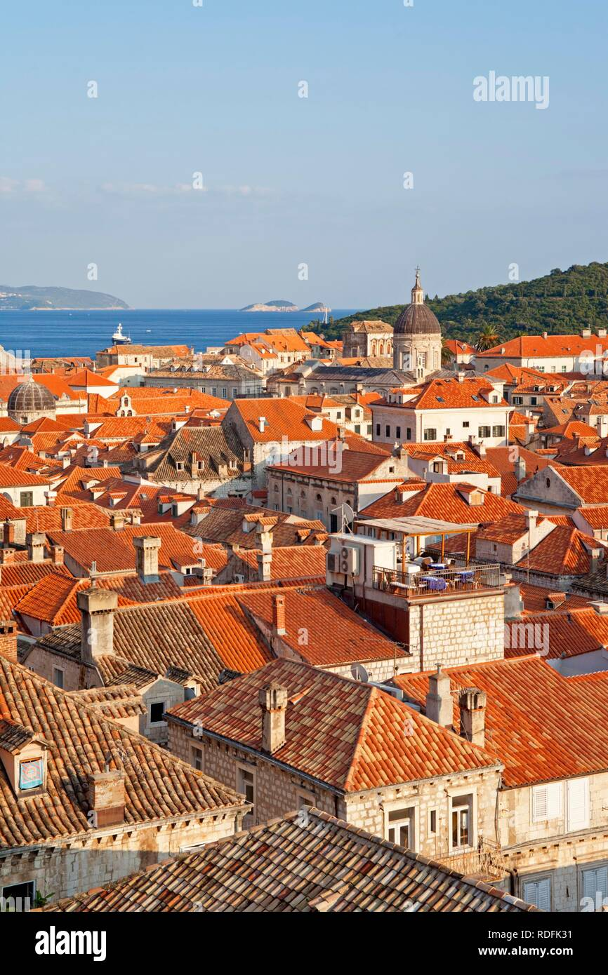 View from Minceta Tower over Dubrovnik, Croatia, Europe - Stock Image