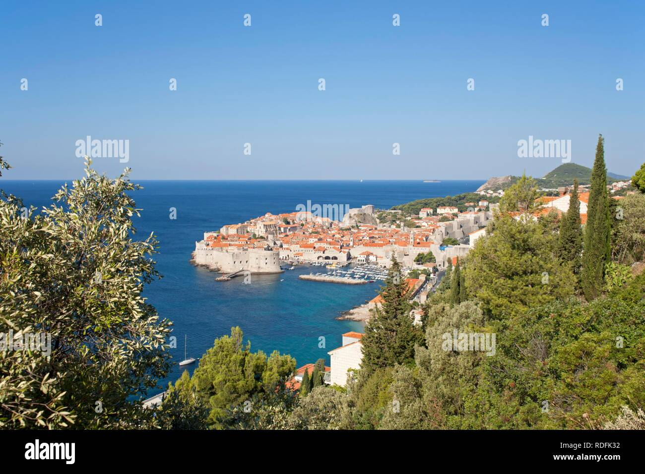 View over Dubrovnik from Srd Mountain, Croatia, Europe - Stock Image