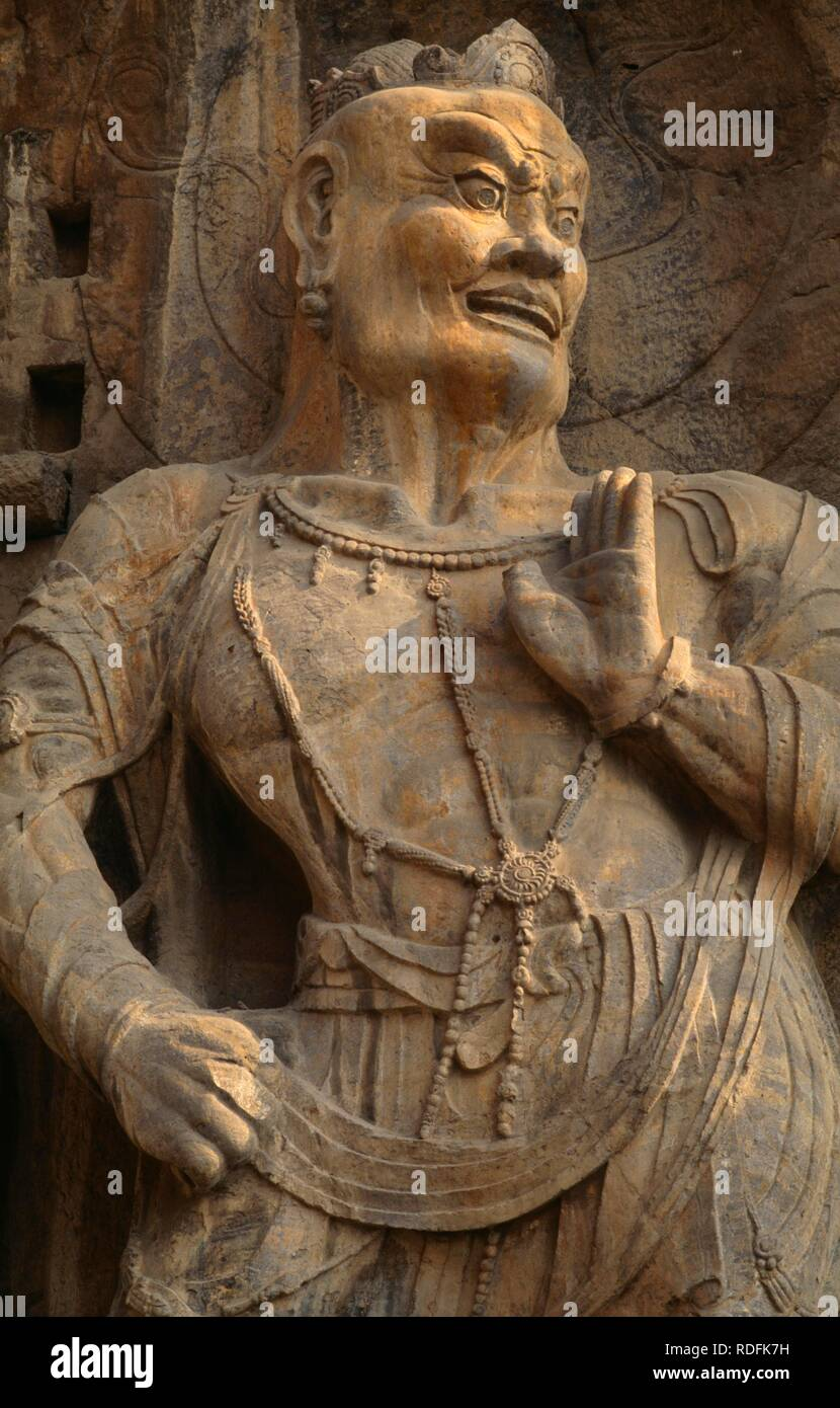 Heavenly Guardian, Unesco World Heritage Site, Buddhist Feng Xian Si Temple, Tang Dynasty, China, Asia Stock Photo