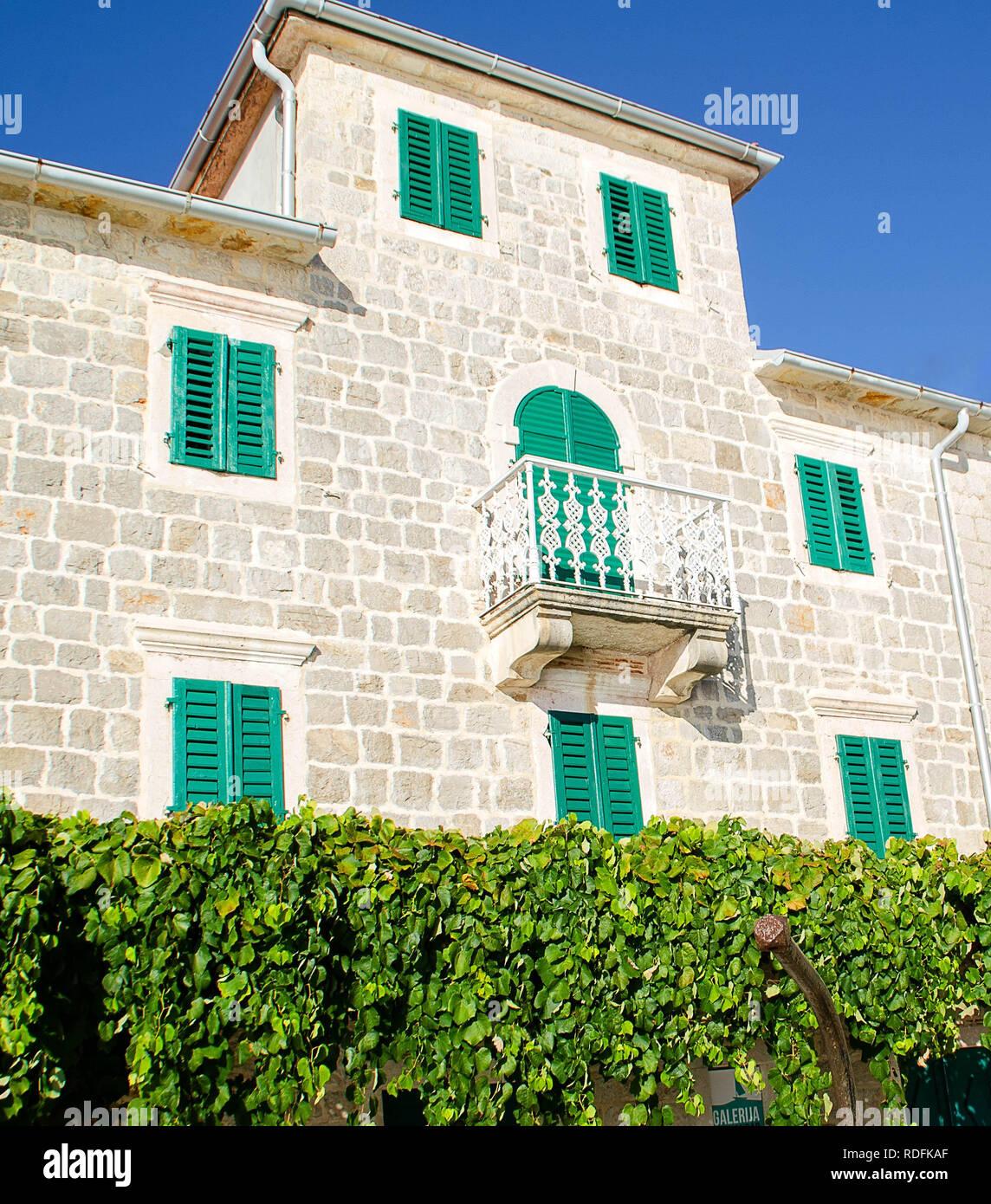 Traditional stone house in Rose village, Kotor Bay, Boka Kotorska, Montenegro Stock Photo