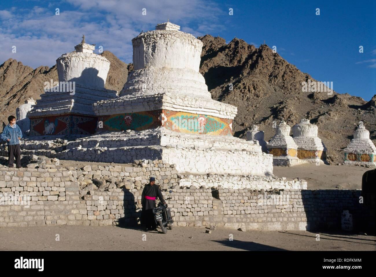Stupa in Leh, Ladakh, Jammu and Kashmir, India, Asia Stock Photo