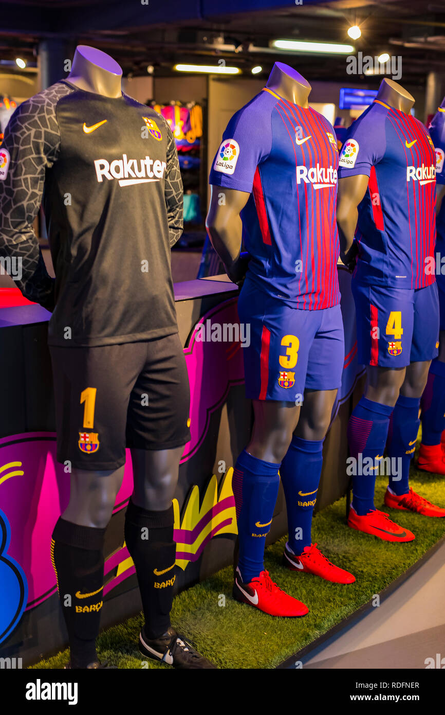 BARCELONA, SPAIN - 12 JANUARY 2018: Official Store FC Barcelona , clothing and footwear team of souvenirs and paraphernalia for fans of the team and v - Stock Image