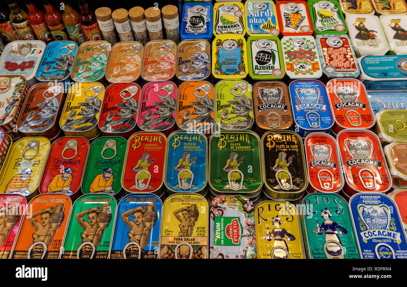 Traditional canned sardines for sale at the Campo de Ourique Market in Lisbon, Portugal - Stock Image
