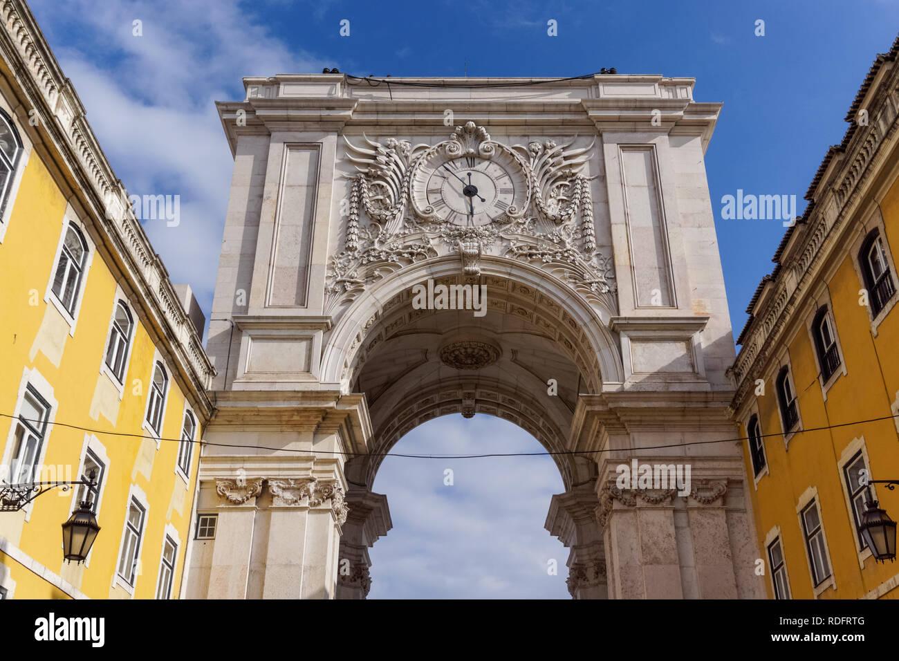 The Rua Augusta Arch in Lisbon, Portugal - Stock Image