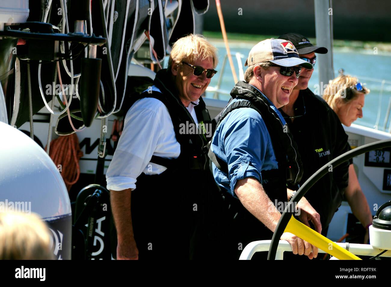 King Willem-Alexander visits the 'Volvo Ocean Race 2017-2018 village' in Scheveningen Harbour, The Hague, The Netherlands. Friday 29th June, 2018. H.R - Stock Image