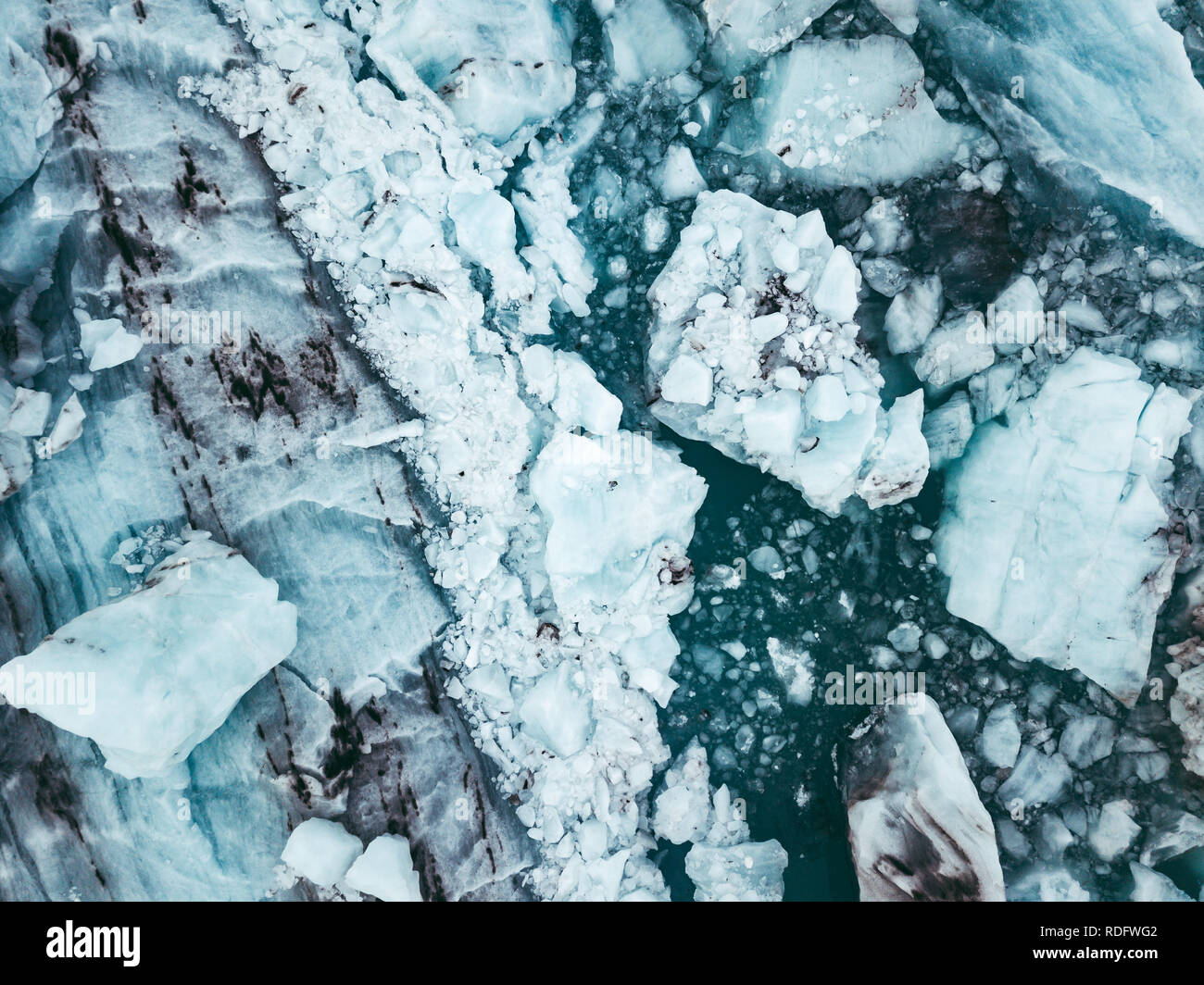 Spectacular glacial lagoon in Iceland with floating icebergs Stock Photo