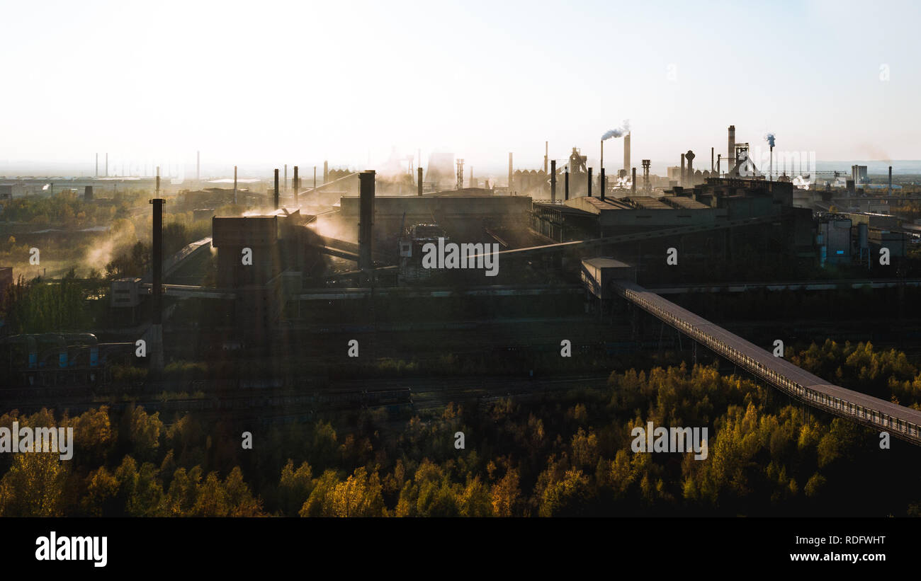 industrial landscape with heavy pollution produced by a large factory Stock Photo