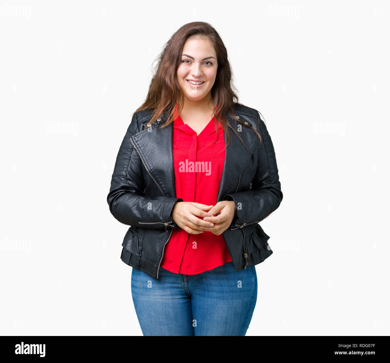 1d5febf41d1a1 Beautiful plus size young woman wearing a fashion leather jacket over  isolated background Hands together and