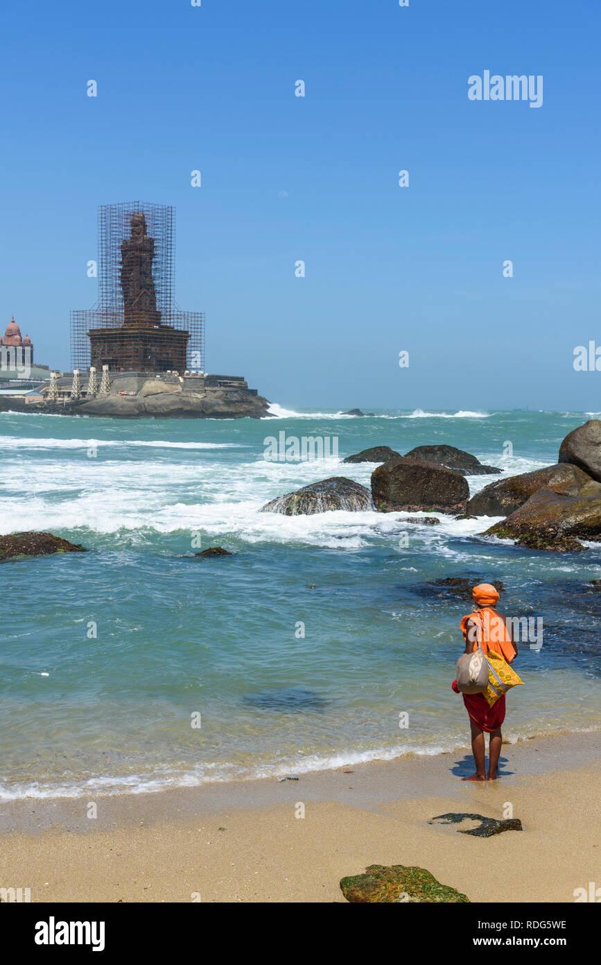 Hindu holy man at Kanyakumari (Cape Comorin), Tamil Nadu, India - Stock Image