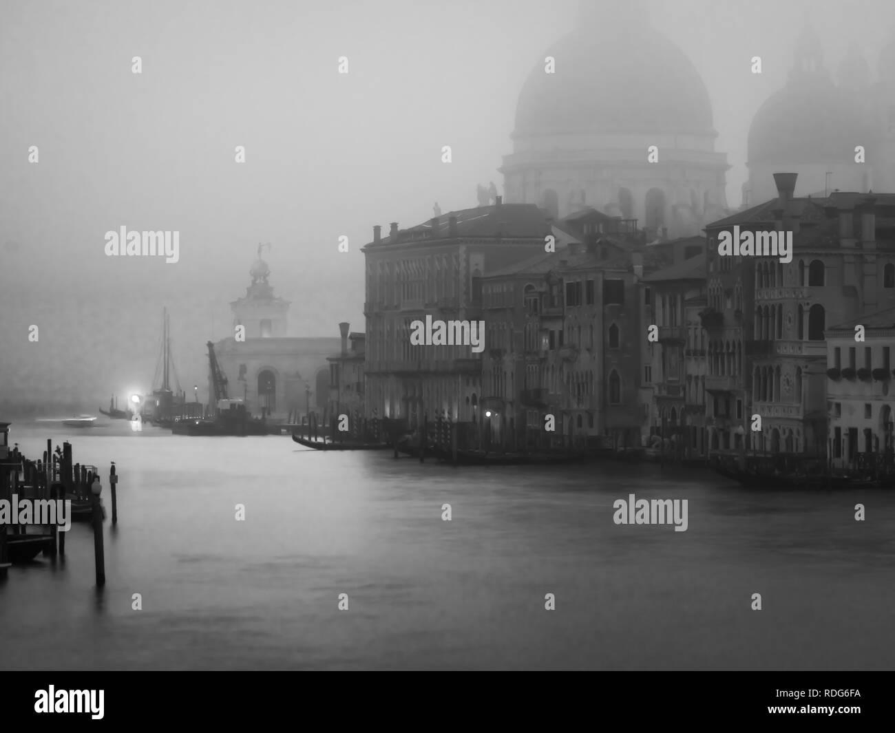 Misty early morning Accademia bridge, Venice, Italy - Stock Image