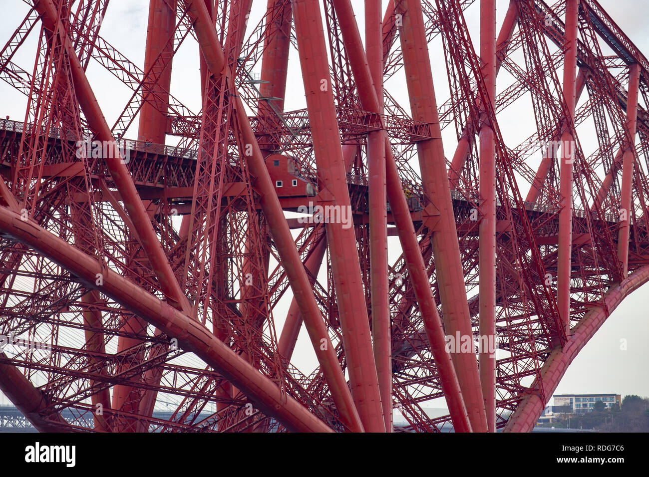 Close up of the structural sections of the Forth bridge in Edinburgh,Scotland,UK Stock Photo
