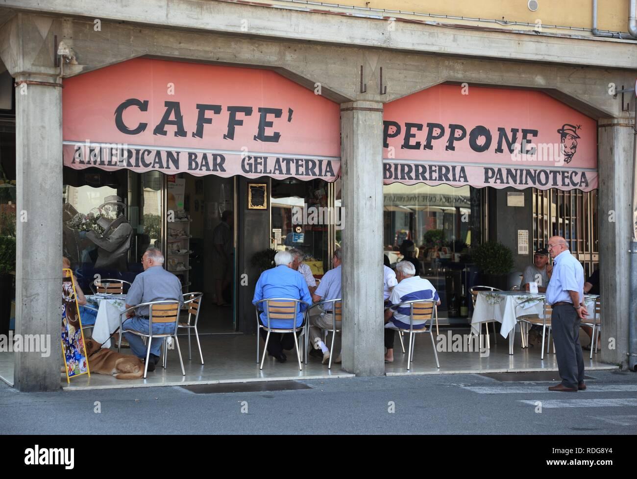 Caffe Peppone in the film city Brescello, Emilia Romagna, Italy, Europe - Stock Image