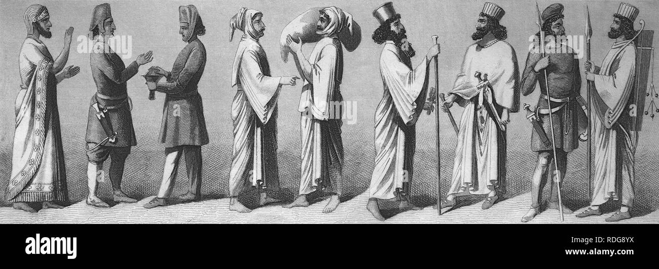 Scenes of antiquity, Persia, Persian king, Persians, 2, Meder, 4, bodyguards, 2, from left, historic steel engraving, 1875 - Stock Image