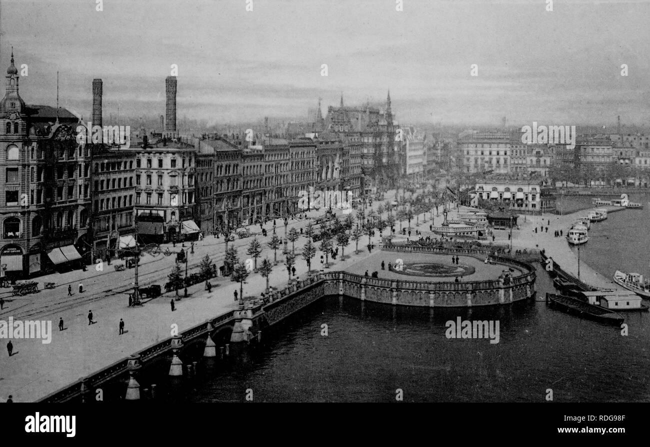 Jungfernstieg promenade, Hamburg, historical photo from around 1899 - Stock Image