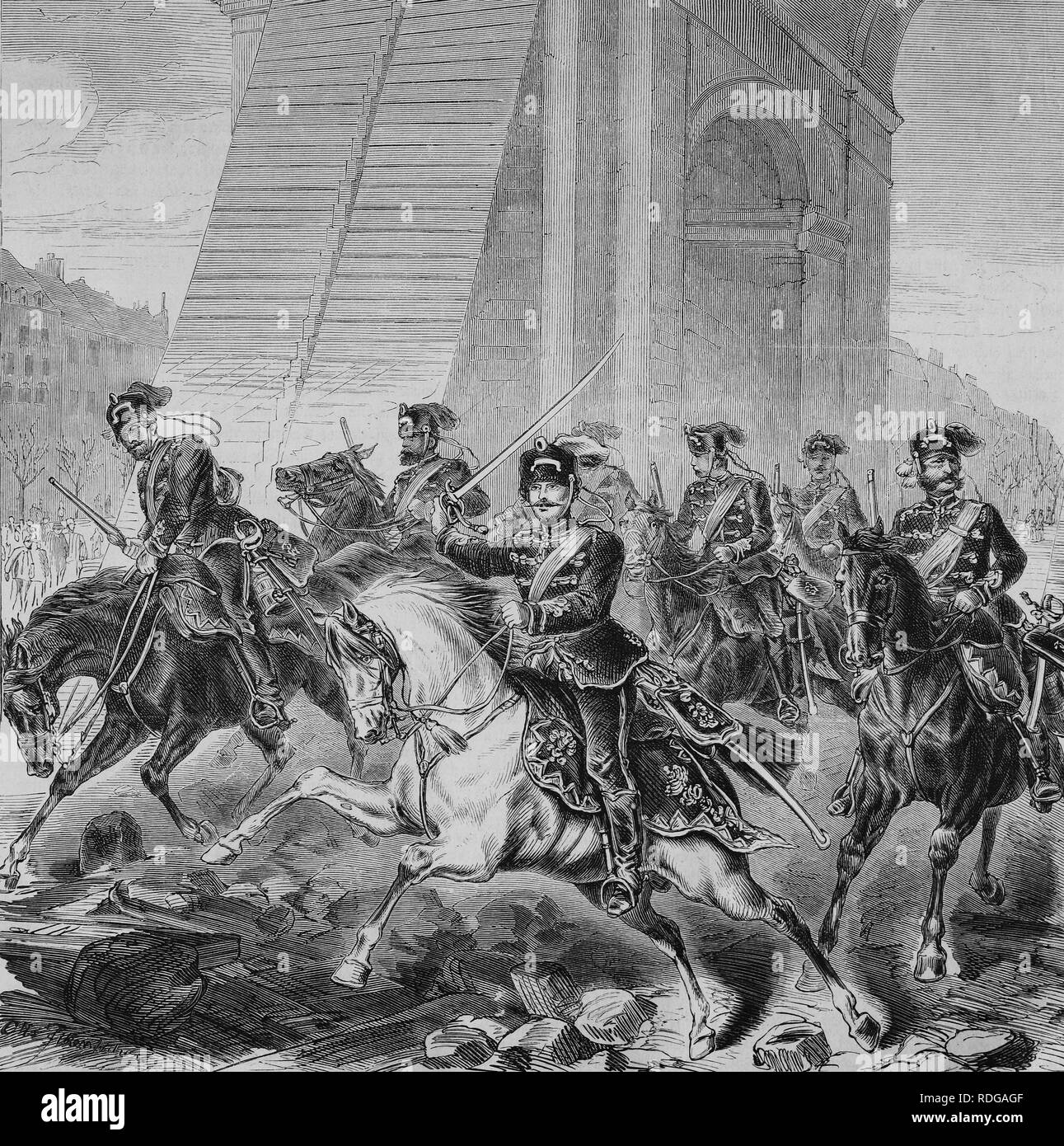 The first German soldiers in Paris on the morning of 1 March 1871, Illustrierte Kriegschronik 1870 - 1871, Illustrated War - Stock Image