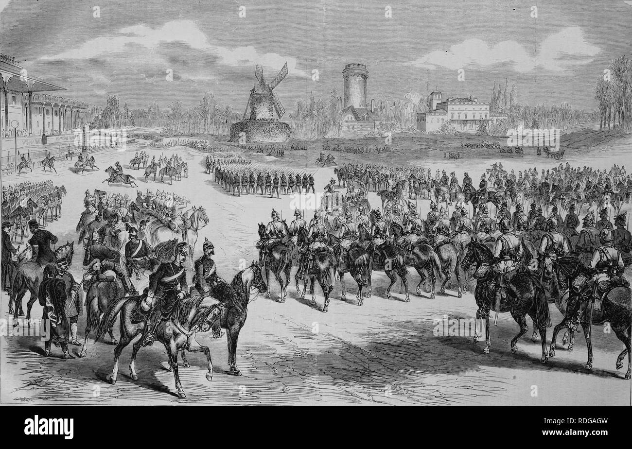 Emperors parade on Longechamp near Paris, Illustrierte Kriegschronik 1870 - 1871, Illustrated War Chronicle 1870 - 1871 - Stock Image