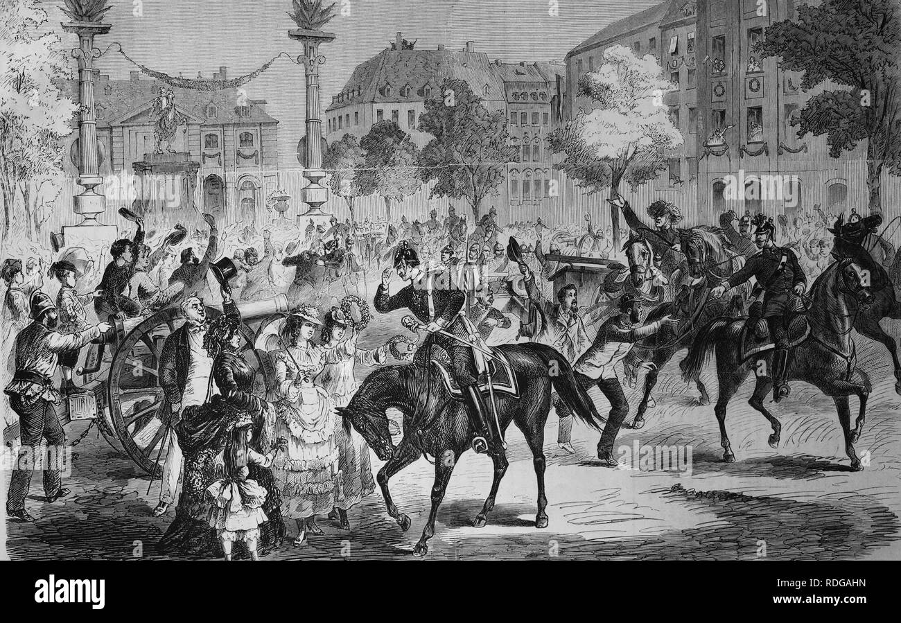 Celebrating the arrival of the troops in Dresden on 11 July 1871, welcoming the artillery in Neustadt, Illustrierte - Stock Image