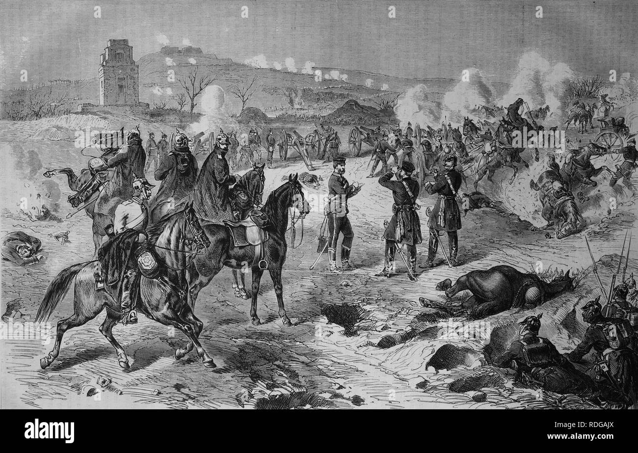 Lost battle at Mont Valerien outside Paris on 19 January 1871, Illustrierte Kriegschronik 1870 - 1871, Illustrated War Chronicle - Stock Image