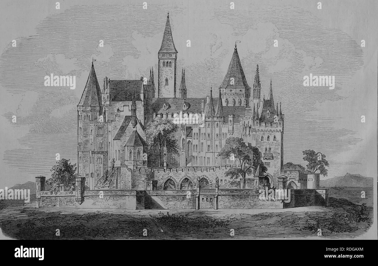 Hohenzollern Castle, 1870, historic illustration, illustrated war chronicle 1870 to 1871, German campaign against France - Stock Image
