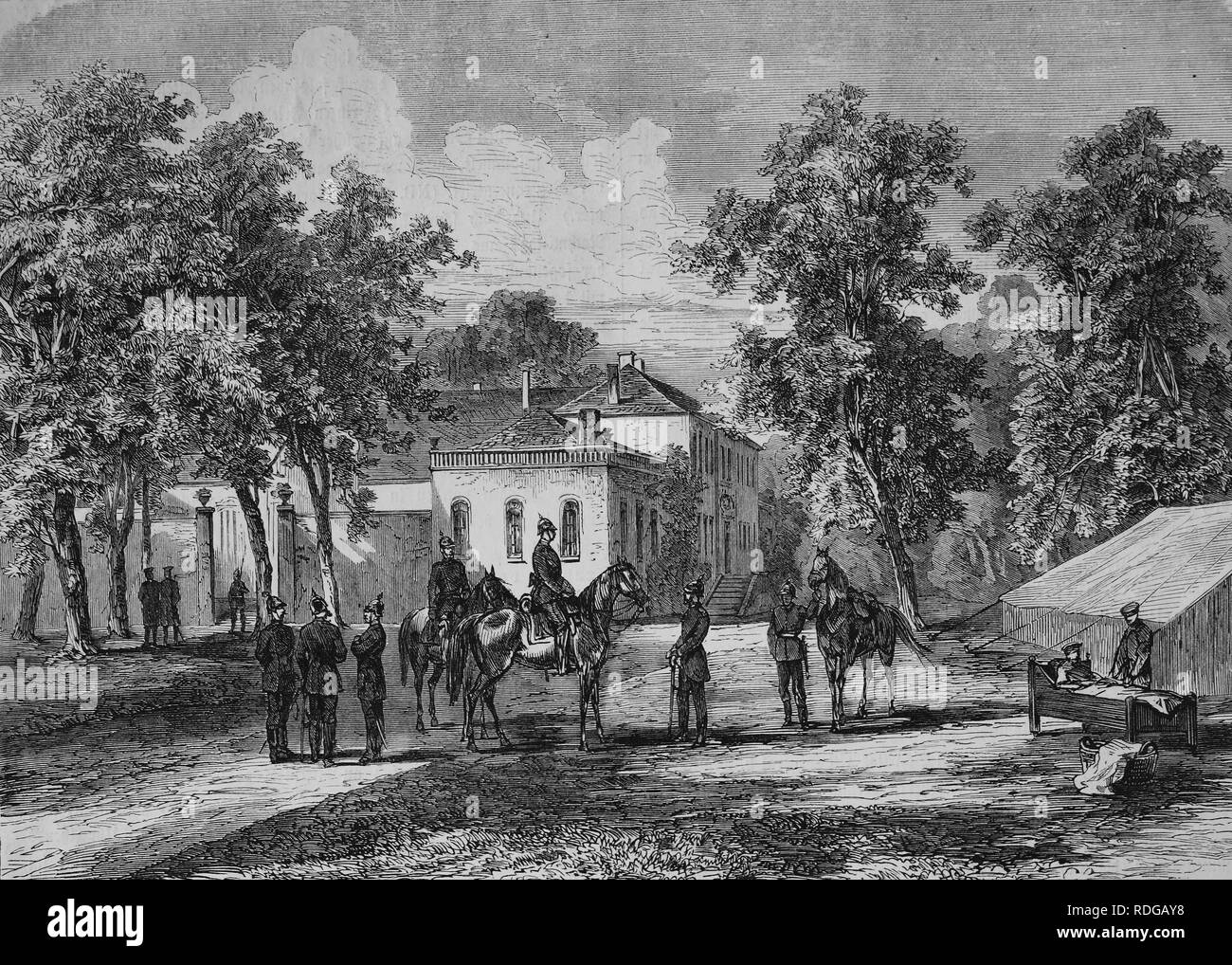 Headquarters of Prince Friedrich Carl zu Corny, near Metz, historic illustration, illustrated war chronicle 1870 to 1871 - Stock Image
